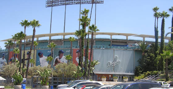 Photos of current Dodgers surround Dodger Stadium