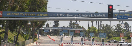 A welcoming sign to Dodger Stadium, Los Angeles