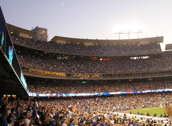 A crecent moon over Dodger Stadium - LA