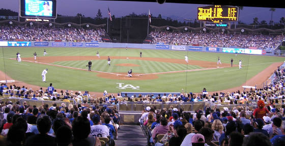 From behind Home Plate at Dodger Stadium