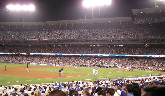 Game action under the lights - Dodger Stadium